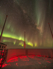 The world's best balcony (redfurwolf) Tags: southpole southpolestation antarctica antarctic sky night nightsky deck observation auroraaustralis aurora milkyway stars light red green outdoor nature redfurwolf sonyalpha sony a99ii sal1635f28za