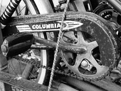Columbia cruiser on bike rack (Will.Mak) Tags: willmak olympus penf leicadgsummilux25f14 25f14 25mm f14 getolympus microfourthirds mirrorless micro43 blackandwhite bicycle crank pedal columbiabicycles