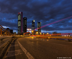 Rush !!! :: DRI (servalpe) Tags: chamartin ef1635mmf4lisusm city cityscape ctba 1635 light lights servalpe lighttrails 5dmarkiii cuatrotorresbusinessarea bluehour towers skyscrapers kio outdoors madrid architecture trails canoneos5dmarkiii canon comunidaddemadrid spain es
