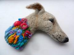 flowerbomb brooch (adore62) Tags: felteddog feltedfido brooch greyhound lurcher schnauzer dachshund felted folksy shop