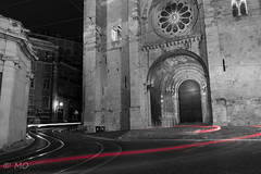 Sé cathedral in Lisbon (mathieuo1) Tags: portugal lisboa lisbonne sé cathedral nikon night light trails colors blackandwhite flow movement speed architecture old capital europe explore travel gitzo dlsr le longexposure urban town streetphotography