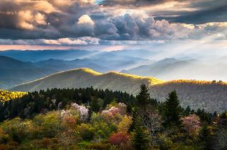 North Carolina Blue Ridge Parkway Spring Scenic Landscape