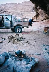 (louis de champs) Tags: minoltasrt101 kodak portra 400 pushed800 wadirum desert jordan sunset bedouin camp camping pickup 4x4 fire tea