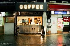 Cafe in Kyoto Night ([M!chael]) Tags: nikon f3hp 5014 ai kodak ultramax400 night japan kyoto film manual