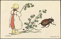 Barnemotiv av Lisbeth Bergh / Child by Lisbeth Bergh (National Library of Norway) Tags: nasjonalbiblioteket nationallibraryofnorway postkort postcards lisbethbergh kunstnerkort barn children blomster flowers insekter insects biller beetles