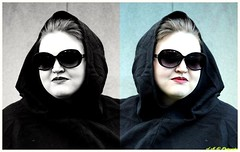 Madame Becca Morphed (PhotoJester40) Tags: outdoors outside female elegant color bnw blackandwhite blackwhite sunglasses goth gothic cloak blackcloak posing modeling portrait closeup madamebecca becca beccaperrin amdphotographer