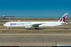 """PVG.2016 # QR - B773 ER A7-BAA """"OneWorld"""" awp (CHR / AeroWorldpictures Team) Tags: qatar airways boeing 7773dzer cn 36009 676 engines ge ge90115b reg a7baa history aircraft first flight built site everett pae wa usa delivered qatarairways qr qtr configured c42y293 oct2013 painted oneworld special colours reconfigured c42y316 alliance b777 b773er b773 taxiway planes aircrafts planespotting shanghai pvg pudong zspd china boat nikon d300s zoomlenses 70300vr raw lightroom 2016 awp"""