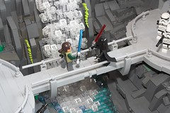Catwalk Chaos (Torc Larbec) Tags: darth vader catwalk mountain base lightsaber duel force wielders imperial moc lego star wars