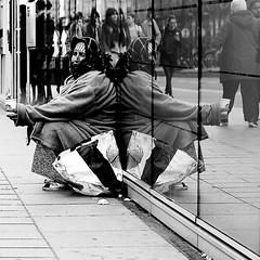 At the foot of the crowd (pascalcolin1) Tags: paris13 femme woman reflets reflection miroir mirror foule crowd photoderue streetview urbanarte noiretblanc blackandwhite photopascalcolin