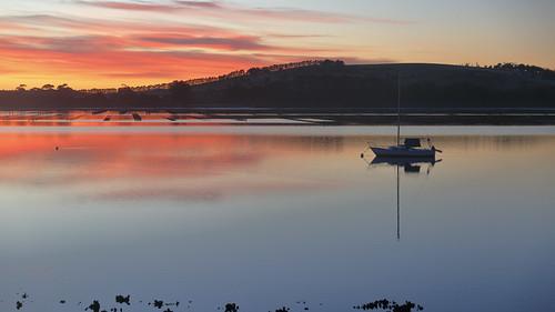 tasmania pipeclaylagoon lagoon dawn southarmpeninsula dawnreflections yacht australia oysterbeds