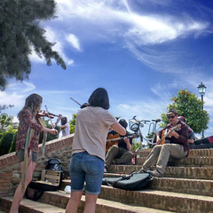 Granada, Andalusia, Spain (pom.angers) Tags: panasonicdmctz30 april 2017 granada andalucìa andalusia spain españa europeanunion music musicians people sky girls women girl woman man men guitar violin jazz streetjazz 100