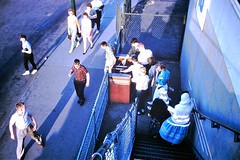 Chicago Midway Airport - Stairs to the Promenade (twa1049g) Tags: chicago midway airport 1960 promenade turnstile kids