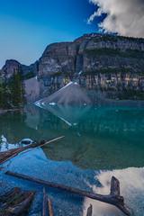 DSC07117_hdr (www.mikereidphotography.com) Tags: banff lakemoraine canadianrockies reflection moraine water trees landscape sunrise