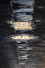 Orologio impermeabile - Waterproof watch. (sinetempore) Tags: orologioimpermeabile waterproofwatch strada acqua water pozzanghera puddle riflesso reflection torino turin