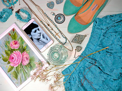 DSCN3873+Doshedevr+Ps (Mama Told Me) Tags: flatlay turquoise creation fashion color monochrome style beauty trendy jewelry clothing art