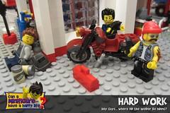 Hard Work (EVWEB) Tags: lego minifigures hard work workshop mechanic garage bike motorcycle beer break sleep sleeping welder fun humor