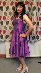 Bridesmaid 2 (bryony_savage) Tags: cd tg tv crossdress crossdressing crossdresser purple sparkly bridesmaid dress silver heels wig makeup pose