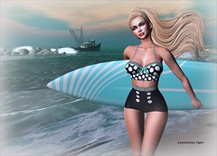The Ocean, Cute Swimwear and You (lauragenia.viper) Tags: bento chloe clawtooth doe glamaffair lelutka lumipro maitreya secondlife secondlifefashion secretposes sntch whimsical swimsuit beach ocean sexy avatar virtual surf surfboard breeze blond blonde blue vintage