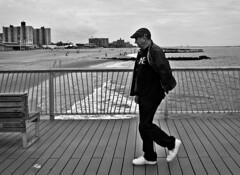 X Man (Robert S. Photography) Tags: man boardwalk coneyisland bw beach sand scenery brooklyn nyc nikon coolpix l340 iso80 may 2017