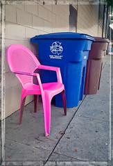 ELECTRIC CHAIR (akahawkeyefan) Tags: chair magenta pink kingsburg davemeyer dumpsters wall sidewalk