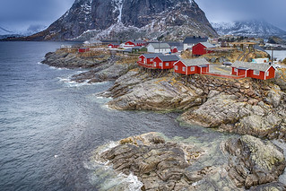 Travel Concepts and Ideas. Classic Traditional Norwegian Fishing Hut Called Hamnoy in Norway.