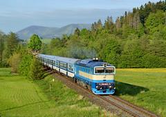 754.013, 21.5.2017 by KubinTrains - Již řadu let patří neodmyslitelně k nedělnímu večeru spěšný vlak, který spojuje Frenštát pod Radhoštěm s moravskou metropolí - Brnem. V neděli 21. května 2017 se ho zhostila lokomotiva 754.013, která je zachycena krátce po odjezdu z výchozí stanice.
