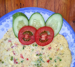Omelet with tomatoes and cucumbers (phuong.sg@gmail.com) Tags: bacon basil breakfast brunch closeup cooked cuisine delicious dinner dish egg filled folded food fork fresh fried garnish garnished green ham healthy herb hungry lunch meal meat morning natural omelet omelette omlette onions organic pepper plate pork red sauce scrambled stuffed tomato vegetable yellow
