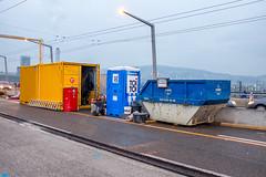 Construction site in colours (jaeschol) Tags: bauarbeiten bauen baustelle blau europa farbe hardbruecke hardbrücke kantonzürich kontinent kreis5 schweiz stadtzürich suisse switzerland toilette bleu blue gelb toitoi