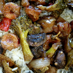 Shrimp stir-fry over white rice (Coyoty) Tags: cornercafe tunxiscommunitycollege farmington connecticut ct college cafe food shrimp stirfry white rice pink green brown square squareformat colors red broccoli onions mushrooms seafood veggies vegetables peppers macro garlic close closeup abstract texture sometimessavory