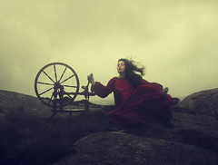 Never Ending (Maren Klemp) Tags: fineartphotography fineartphotographer conceptual color portrait selfportrait woman red dress spinningwheel nature naturallight outdoors vintage dreamy painterly ethereal surreal