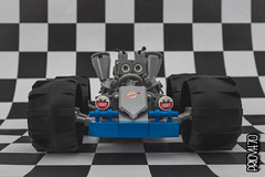 Space kart - view 02 (Priovit70) Tags: lego classicspace spacekart blue wheels mrrobot engine lightbluishgray checkeredflag olympuspenepl7