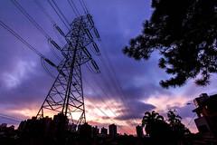 Visitors (Ederson Gomes) Tags: powelines sky skyline city cidade anoitecer sunset purple sp são caetano do sul abc paulista canon efs 1022mm color colorfull magenta drama cores wideangle grandeangular