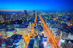 Osaka city scape (Arbit Bamboo0101) Tags: night 15mm color asia wideangle street wideanglelense city cityscape sky tower high swh a7ii hdr blue urban sony oramge superwide digital sonyalpha red voigtlanderheliar15mmf45 alpha72 a72 osaka japan light