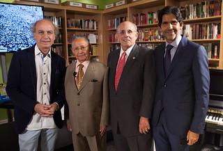 "Maestro Eduardo Marturet, Rafael Guerra Ramos, Mayor Raul Valdés-Fauli and Marcos Santana at the book ""La Lucha que no Acaba"" presentation at Altamira, Coral Gables"