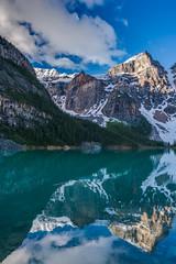 DSC07134_hdr (www.mikereidphotography.com) Tags: banff lakemoraine canadianrockies reflection moraine water trees landscape sunrise