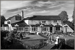 New Inn, new take....... (Jason 87030) Tags: mono black white bw bbw longbuckbywharf northants northamptonshire may 2017 a5 morning pub canalside inn outdoors outside building architecture sky frame border