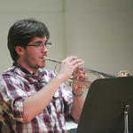 Student performing on trumpet.