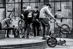BMX Bikers (Fermat48) Tags: manchester cathedral gardens bmx cycles bicycles teenagers bike trick skill canon eos 7dmarkii diamond yacht club cap