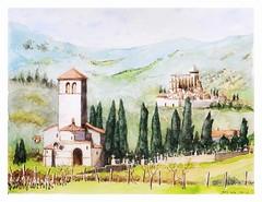 Saint Just de Valcabrère  et St Bertrand de Comminges (guymoll) Tags: aquarelle watercolour watercolor comminges saintjust saintbertrand roman romanes églises