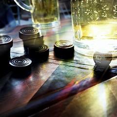 """ Could you imagine..... ? "" (Petra U.) Tags: backgammon spiel biergarten bier sonne gimp layers sun beer light"