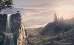 Rìluò shāngǔ (MusesTouch - digiArt & design) Tags: photomanipulation orientalimpressions asianlandscape mountains valley sunsetvalley digitalart mattepainting cliffs waterfall bonsai pagoda peaceful nature calm serenity highvantagepoint
