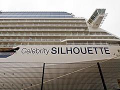 The cruise ship Celebrity Silhouette in Frihamnen port, Stockholm (Franz Airiman) Tags: kryssningsfartyg cruiseship ship boat båt fartyg stockholm sweden scandinavia frihamnen celebritysilhouette bridge brygga bryggvinge staket fence balcony balkong