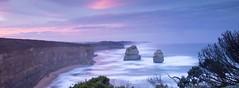 Sunrise Over Sea Stacks (rubberducky_me) Tags: victoria australia greatoceanroad 12apostles seastacks sunrise beach ocean blue pink panorama