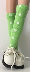 Lime Green And White Dot Tall Socks...For Blythe...