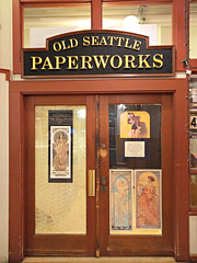 Old Seattle Paperworks door (Ruth and Dave) Tags: oldseattlepaperworks pikeplacemarket pikeplace seattle art poster shop store door closed sign name