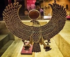 Protective falcon pectoral from King Tutankhamun's tomb New Kingdom 18th Dynasty 1332-1323 BCE (mharrsch) Tags: falcon horus pectoral gold kingtutankhamun tomb burial funerary newkingdom 18thdynasty 14thcenturybce egypt ancient pharaoh ruler monarch king discoveryofkingtut exhibit newyork mharrsch premierexhibits