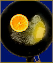 Frying Pan, Iemon, Melting Butter (Cliff Michaels) Tags: iphone iphone6 photoshop pse9 food lemon butter fryingpan