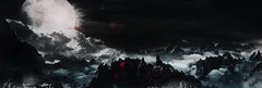 """""""Another world"""" (L1netty) Tags: landscape mountains pc games gaming reshade screenshot moon clouds dark deck13 panorama lordsofthefallen outdoor fantasy scenery color 4k videogame night pano"""
