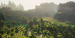 Minecraft (GameVogue) Tags: minecraft shaders nature valley gaming gamephotography ingamephotography cottage