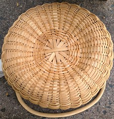 Bottom of New England Round Basket (Nutmegbasketry) Tags: shakerbasket roundbasket swingbasket swinghandle handwoven newenglandmade basket